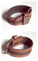 brown leather cuff / wrist band by BadgersBakery