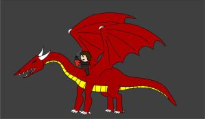 OotS Style Dragon and Rider by Drakiin-Magis