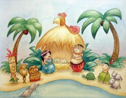 Hawaiian Tiki Nativity by seystudios