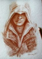 Ezio Auditore da Firenze - Sanguigna pencil by Musiriam