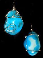 Turquoise pendant silver wrap1 by Emusa