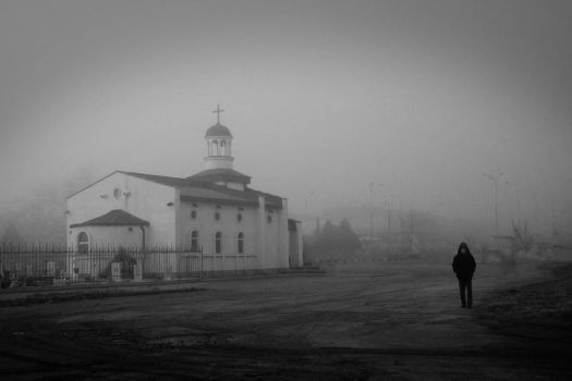 Church in the fog by ghostrider-in-ze-sky