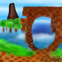 My Drawing - Green Hill Zone - Paint Tool Sai by I-G-imagination