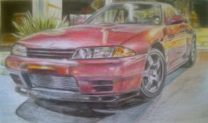 Nissan Skyline GT-R BNR32 (drawing) by And300ZX