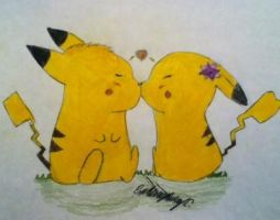 pikachu love by XanderCakes