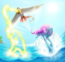 PKMN AotP Chasing Suicune by FoxyTeah