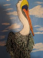 Large Pelican Painting- Details 1 by JadasArtVision