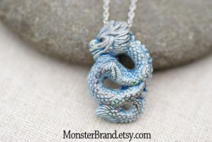 Blue Dragon Necklace by MonsterBrandCrafts