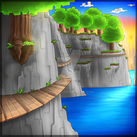 Minecraft cliff by Exunary
