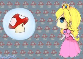 Chibi Princess Peach and Mushroom by Kawaaaai
