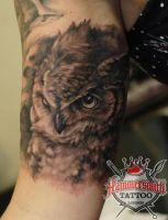 Ivan Black And Grey Owl by HammersmithTattoo