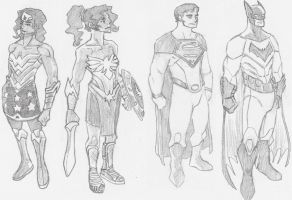 Diana, Hippolyta, Clark, and Bruce Redesigns by KyronicArtist