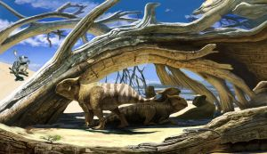 Protoceratops take shelter by Olorotitan