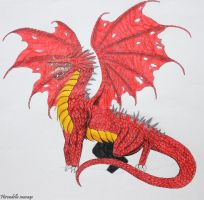 Dragon rouge aux ailes trouees by Hirondellesauvage