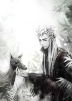 Thranduil and a deer by namusw