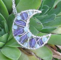 Amethyst and Aqua Necklace by MoonLitCreations