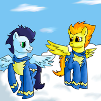 Soarin and Spitfire by CrazyHuskyArchie