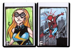 Sketchcards -Ms. Marvel.Spidey by JeremyTreece