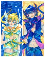 Contrast :Kaito::Len: by FranyBerry