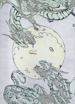 dragons before the moon by Chaoswolfstone
