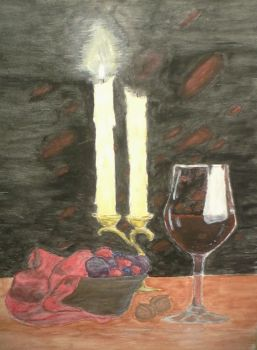 Wine and candles in Watercolor by autumnat