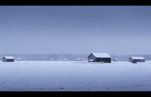 Barns in Winter by Solkku
