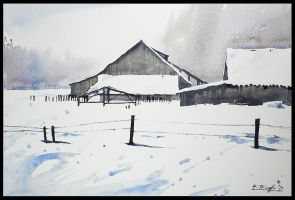 winter barn by Kegriz