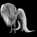 New Horse Grayscale by LamiaLuna13