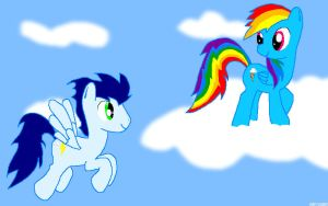 Soarin and Dash in the clouds by RorySoarin