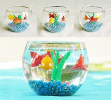 minifishes in a miniaquarium by laminimouse