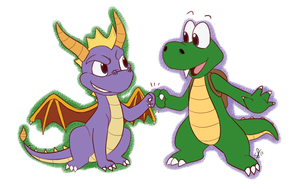 spyro + croc by stephastated