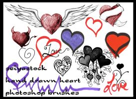Hand Drawn Heart Brushes by seiyastock