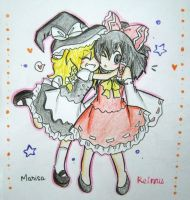 Chibi Touhou:A hug from Marisa by quynhanhnguyendac