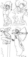 Linearts for my babies in Myriad Saga by Kay-is-Dreaming