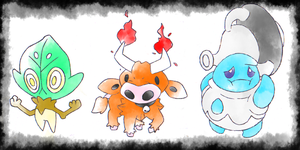 Pokemon Plus and Minus starters by GastrodonS