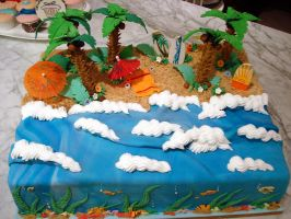 Tropical Beach Cake by Sliceofcake