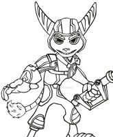 Crack in Time Ratchet Lineart by sonicwindartist