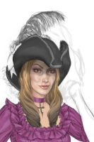female character in purple -sketch by JoshBurns