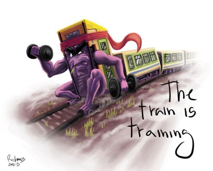 The train is training by foice