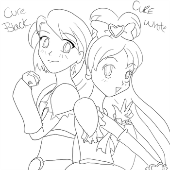 Cure Black and Cure White WIP by brit-chan