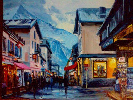 Small town in Alps by Mulqland