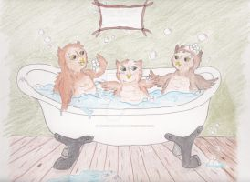 Owl Babies in the Tub for Sale by LilWolfStudios