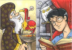a couple a harry potter cards by katiecandraw