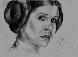 Carrie Fisher as Princess Leia by Mohamed Ziou by MoZiou