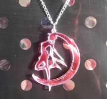 Pretty Sailor Moon silhouette mirror necklace by KawaiiMoon24