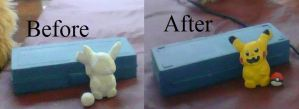 Making a Pikachu Figure Before and After by Wingedwolfflight