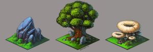 the stone, the tree and the mushroom by KalaNemi