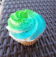 Blue and Green cupcake by Recreating-life