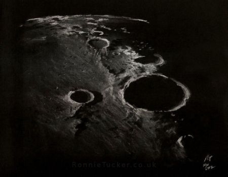 The Moon - white on black by ronnietucker