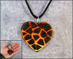 Molten Lava Heart Necklace by DragonsAndBeasties